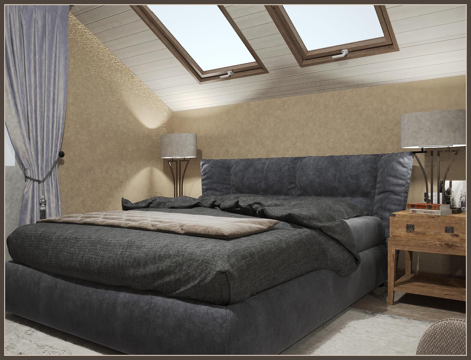кровать и светильники в спальне