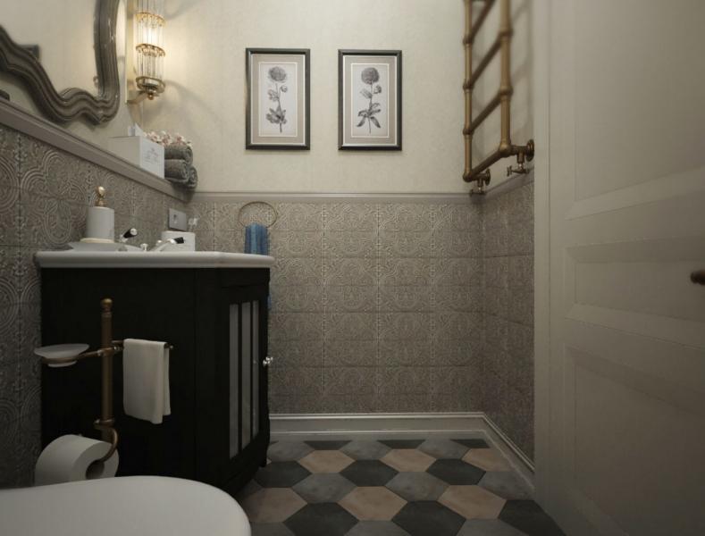 Декор интерьера туалета в загородном доме