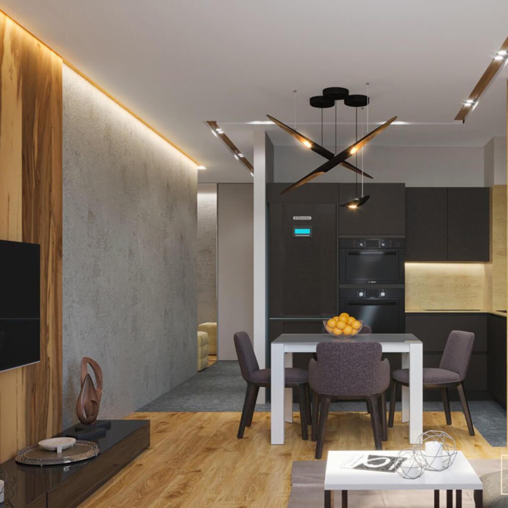 кухня и гостиная с деревянными элементами
