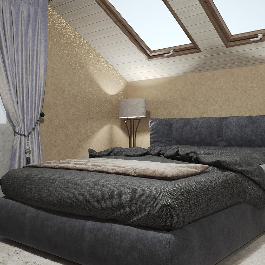 двухспальная кровать с мягким изголовьем