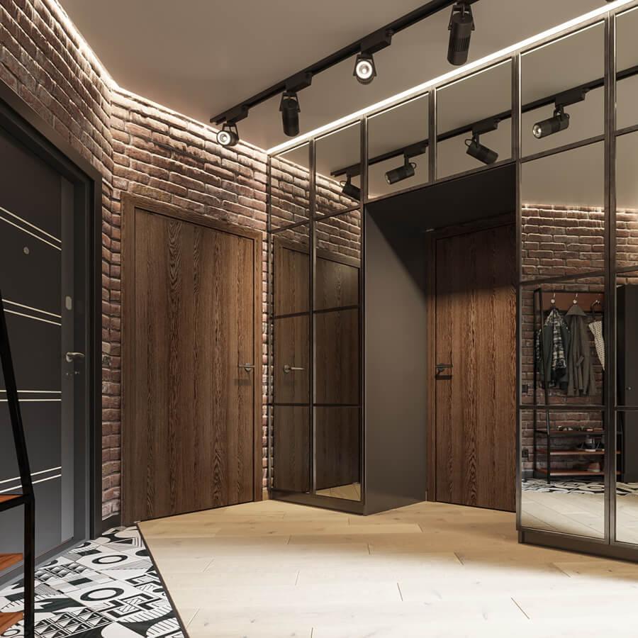 Cтиль лофт в интерьере квартиры. Стены из застаренного кирпича и шинная сиситема на потолке