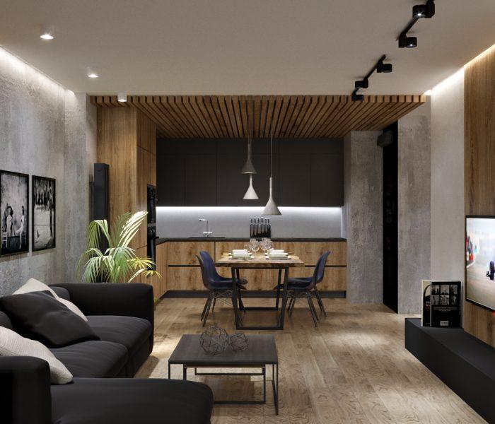 совмещенная гостинная с кухней